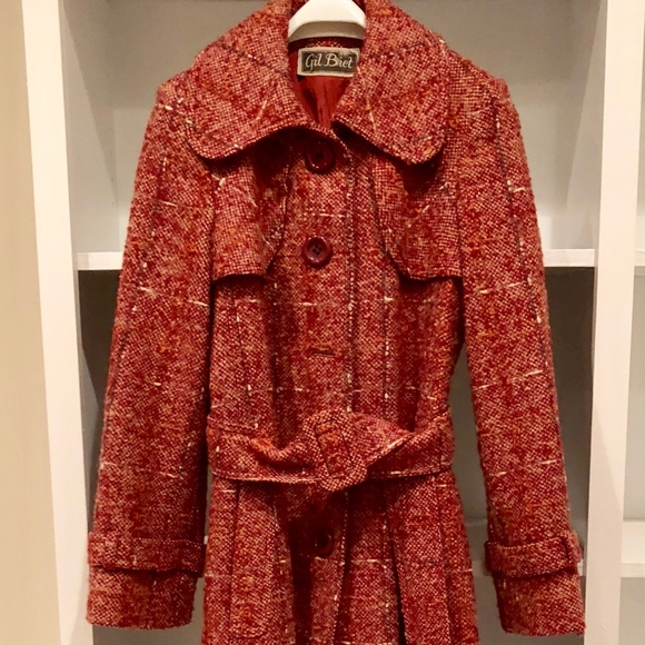 separation shoes d0add 8c030 Vintage Gil Bret Tweed Wool Trench Coat Sz S 1970s